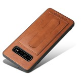 Fierre Shann Full Coverage Protective Leather Case for Galaxy S10 with Holder & Card Slot (Brown)