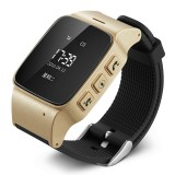 D99 0.96 inch OLED Screen Smartwatch for the Elder IP54 Waterproof, Support GPS + LBS + WiFi Positioning / Two-way Dialing / Voice Monitoring / One-key First-aid / Wrist off Alarm / Safety Fence (Champagne Gold)