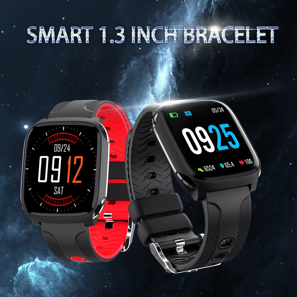TF9 1.3 inch IPS Color Screen Smart Bracelet IP67 Waterproof, Support Call Reminder / Heart Rate Monitoring / Blood Pressure Monitoring / Sleep Monitoring / Sedentary Reminder (Black Red)