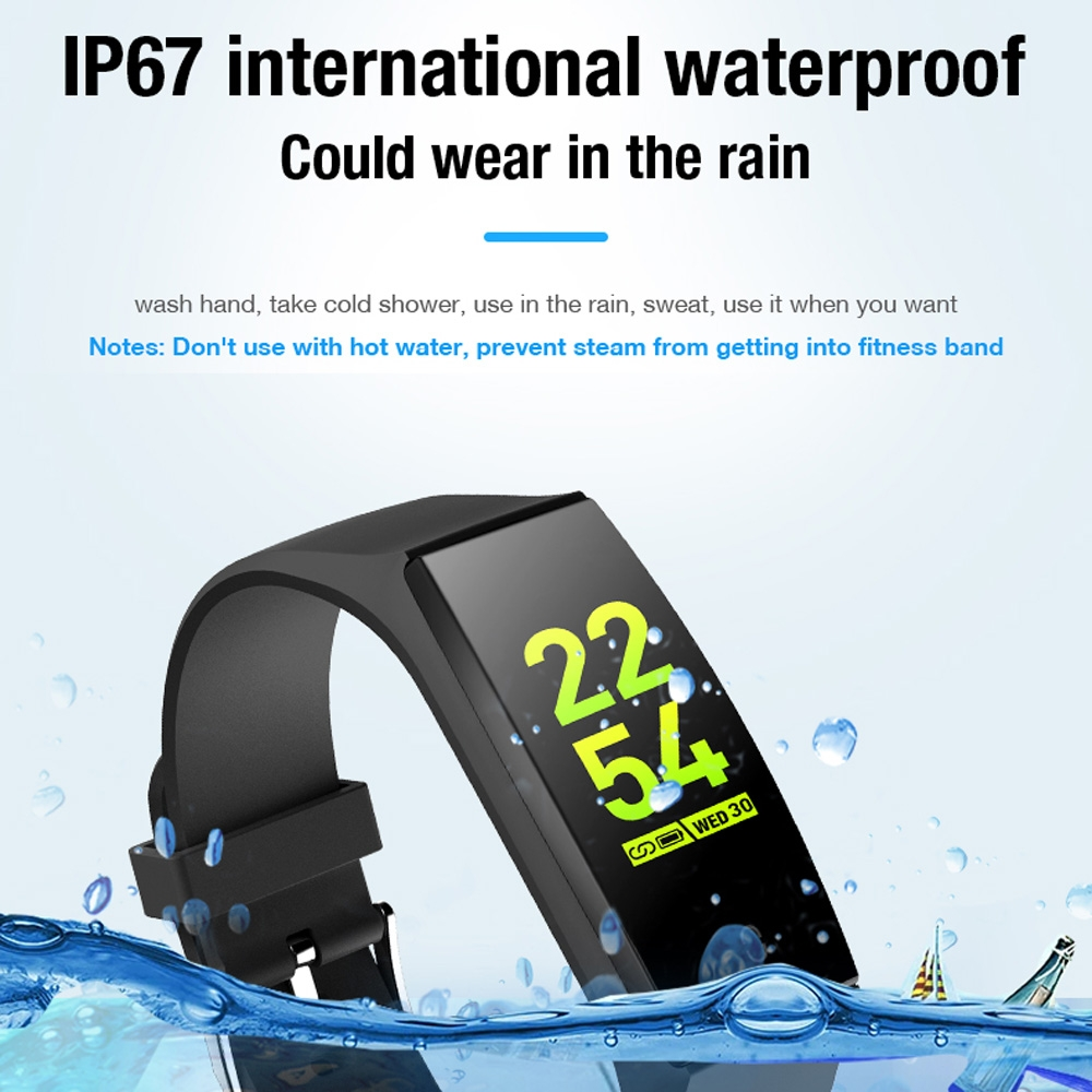 V18 0.96 inch IPS Color Screen Smart Bracelet IP67 Waterproof, Support Call Reminder / Heart Rate Monitoring / Blood Pressure Monitoring / Sleep Monitoring / Remote Photography (Black)