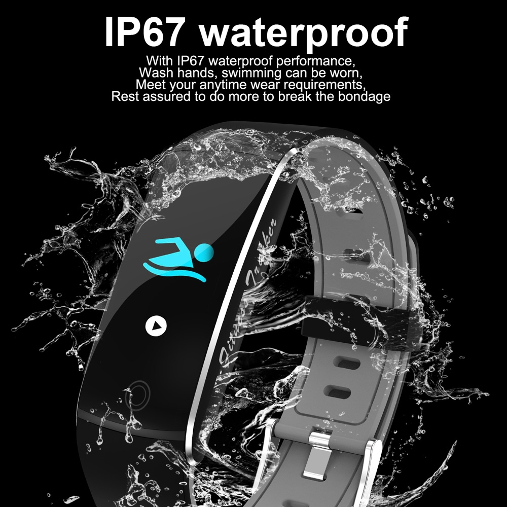 F10 0.96 inch TFT Color Screen Smart Bracelet IP67 Waterproof, Support Call Reminder / Heart Rate Monitoring / Blood Pressure Monitoring / Sleep Monitoring / Blood Oxygen Monitoring (Grey)