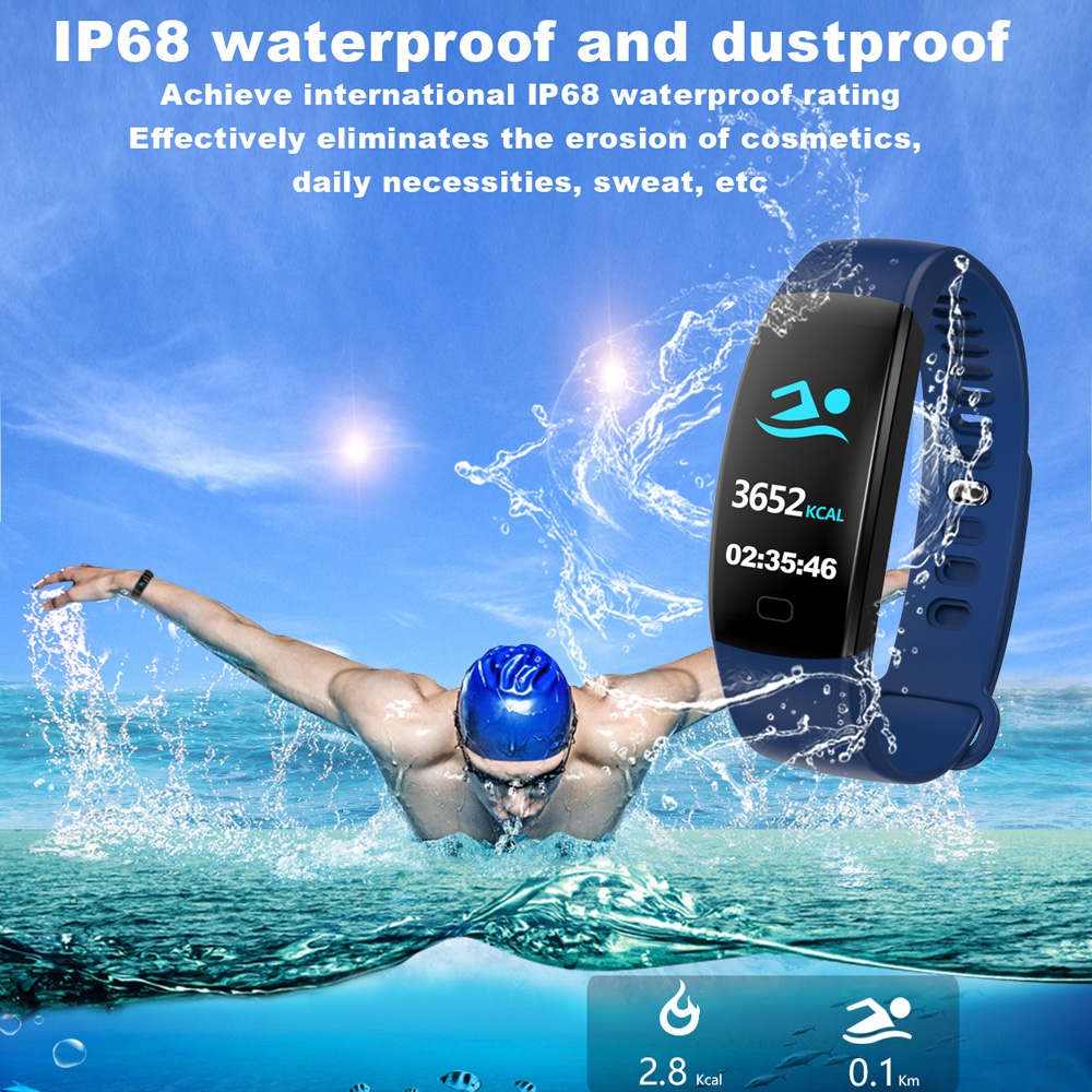 F64HR 0.96 inch TFT Color Screen Smart Bracelet IP68 Waterproof, Support Call Reminder / Heart Rate Monitoring / Blood Pressure Monitoring / Sleep Monitoring / Blood Oxygen Monitoring (Blue)