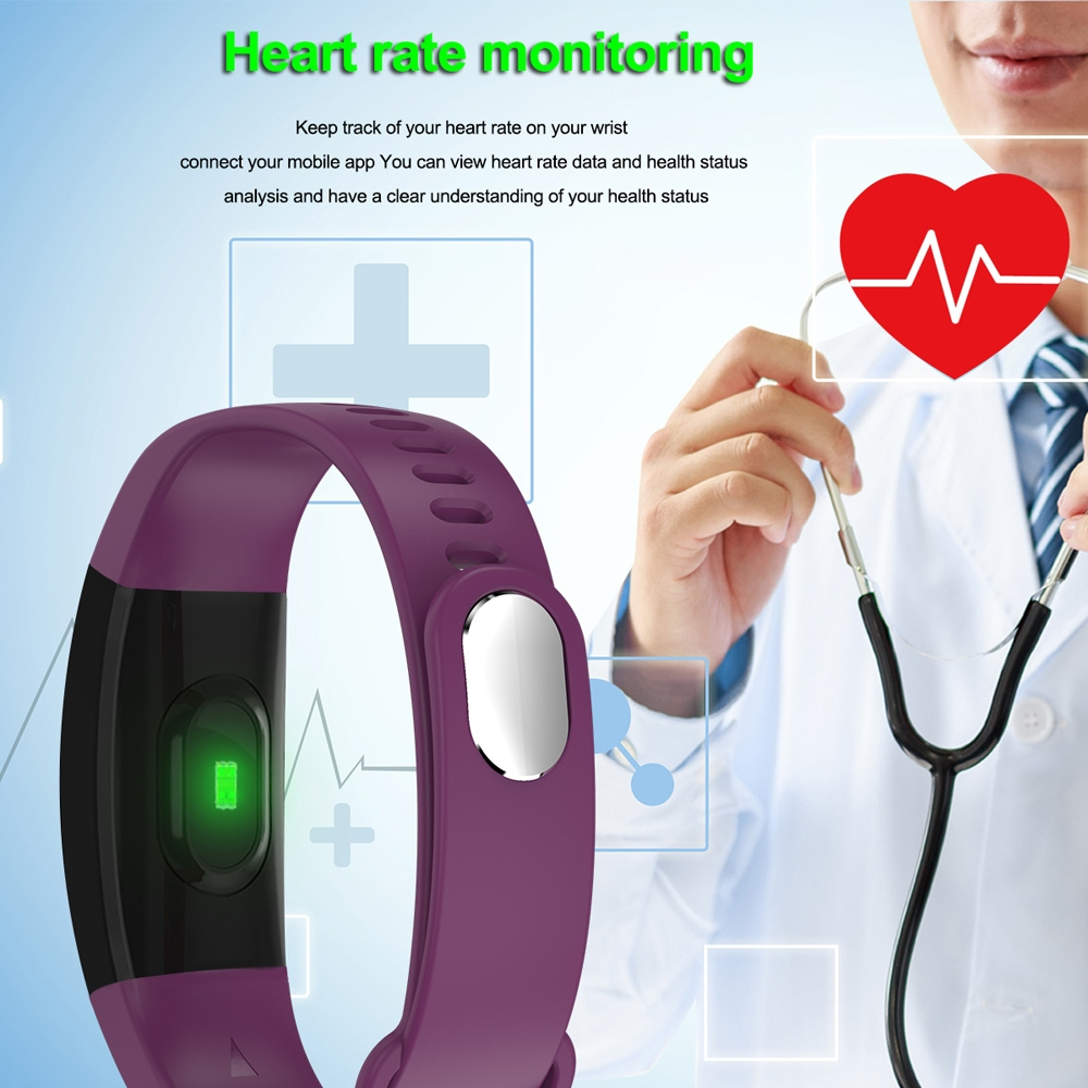 F64HR 0.96 inch TFT Color Screen Smart Bracelet IP68 Waterproof, Support Call Reminder / Heart Rate Monitoring / Blood Pressure Monitoring / Sleep Monitoring / Blood Oxygen Monitoring (Purple)
