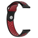 Double Color Wrist Strap Watch Band for Galaxy S3 Ticwatch Pro (Black Red)