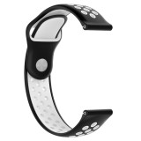 Double Color Wrist Strap Watch Band for Galaxy S3 Ticwatch Pro (Black White)