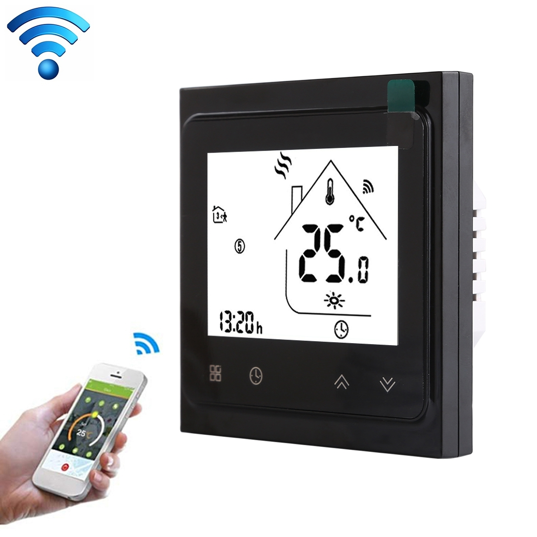 BHT-002GALW 3A Load Water Heating Type LCD Digital Heating Room Thermostat with Time Display, WiFi Control (Black)