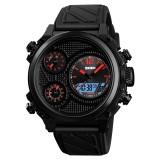 SKMEI 1359 Men Outdoor 50m Waterproof Digital Watch Sports Wrist Watch Support 5 Time Displays (Red)