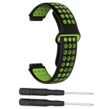 Double Colour Silicone Sport Wrist Strap for Garmin Forerunner 220 / Approach S5 / S20 (Black+green)