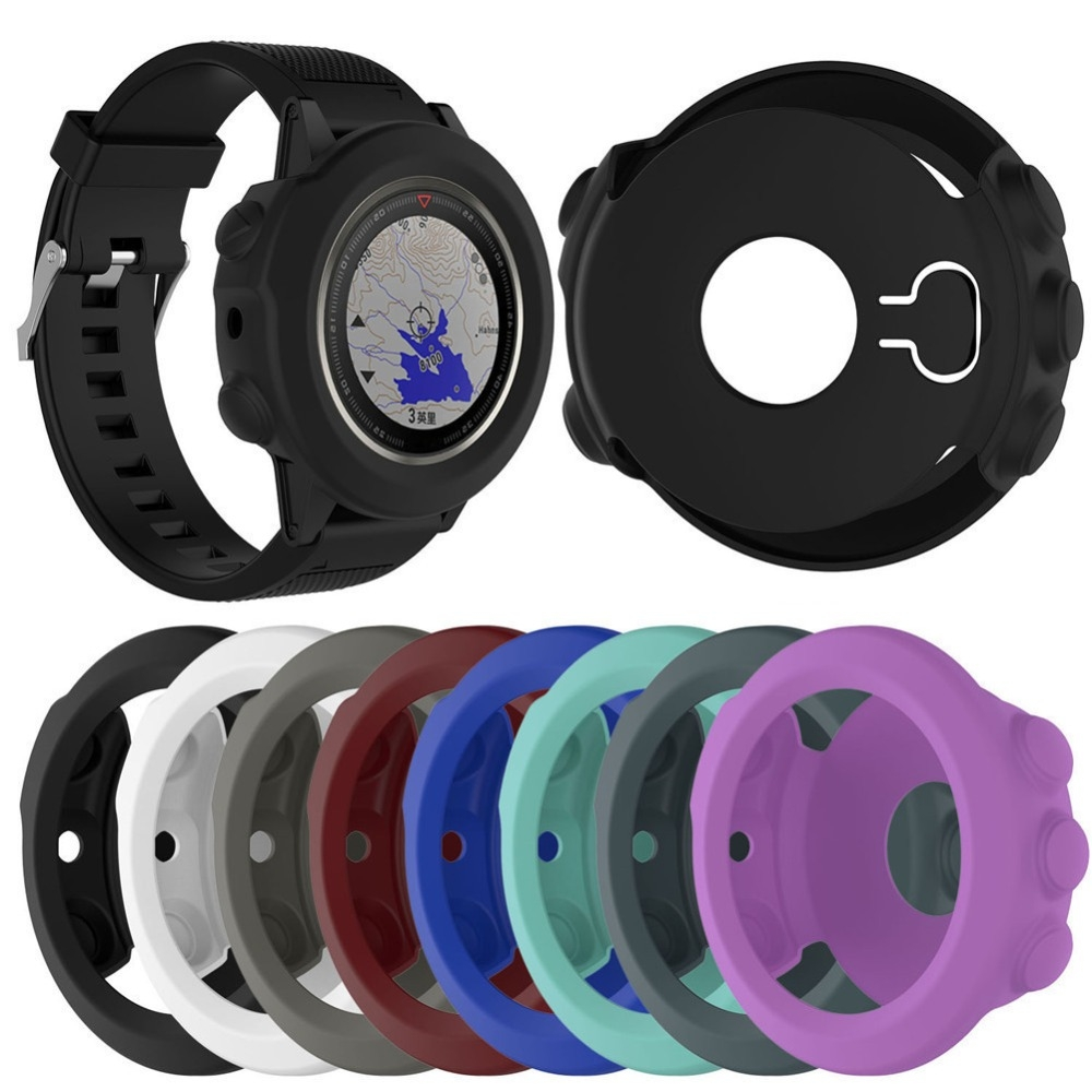 Solid Color Silicone Watch Protective Case for Garmin 5 / 5S / 5X (Black)