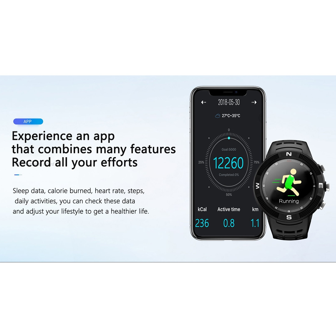 F18 1.3inch IP68 Waterproof Smartwatch Bluetooth 4.2, Support Incoming Call Reminder / Heart Rate Detection / Sleep Monitoring (Green)
