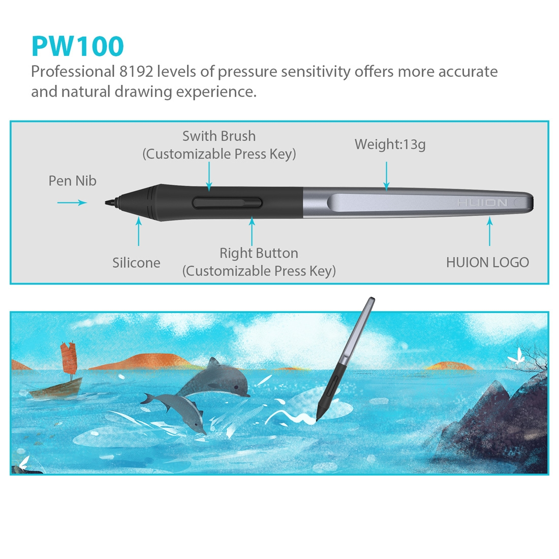 HUION H610Pro V2 5080LPI Professional Art USB Graphics Drawing Tablet for Windows / Mac OS, with Battery-free Pen