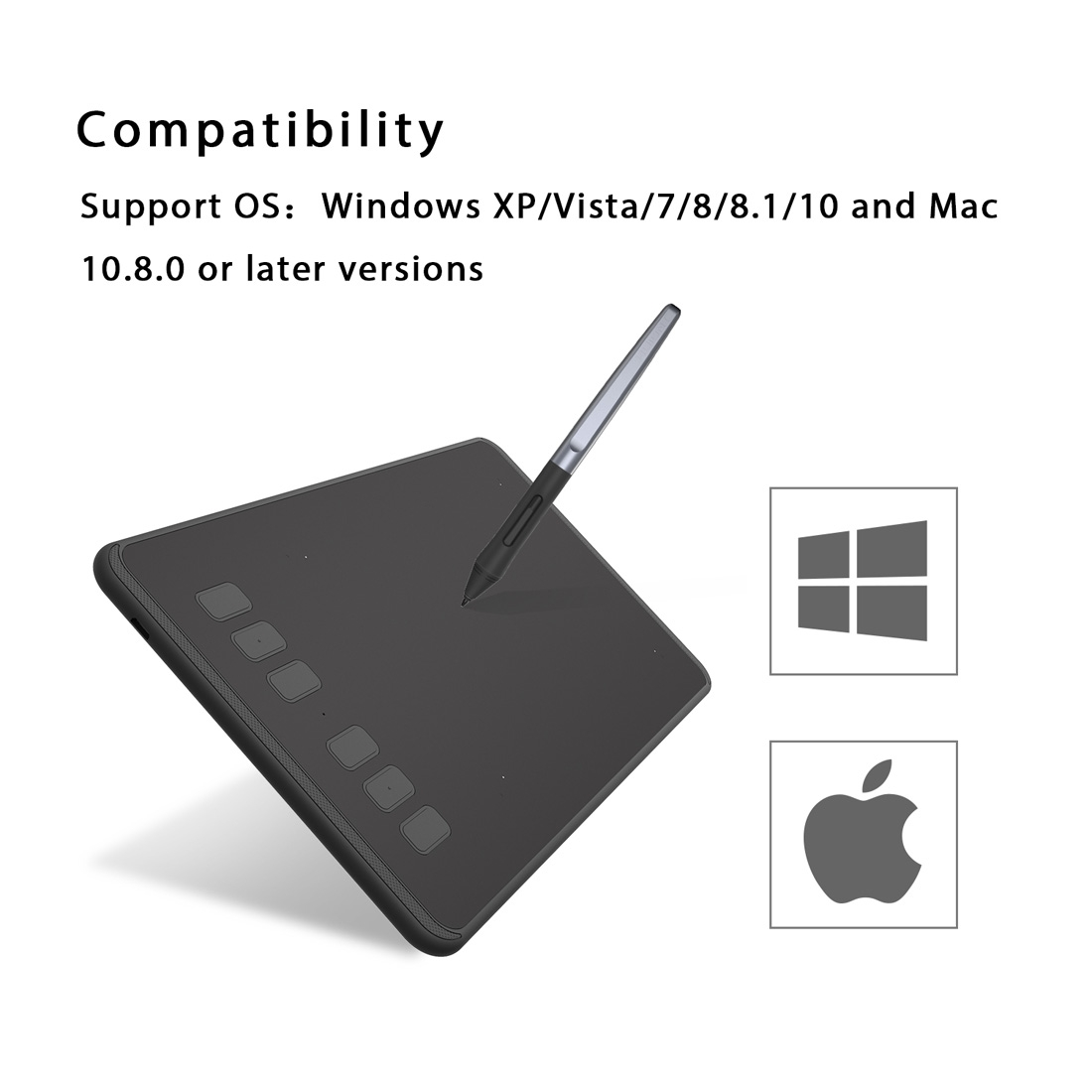HUION Inspiroy Series H640P 5080LPI Professional Art USB Graphics Drawing Tablet for Windows / Mac OS, with Battery-free Pen