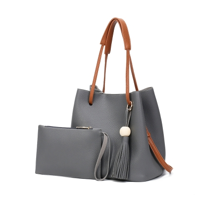 New Model Fashion Lychee Grain Tote Bag Handbag Bucket Bag Shoulder Bag Two-Piece Set (Dark Gray)