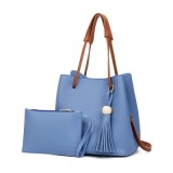 New Model Fashion Lychee Grain Tote Bag Handbag Bucket Bag Shoulder Bag Two-Piece Set (Blue)