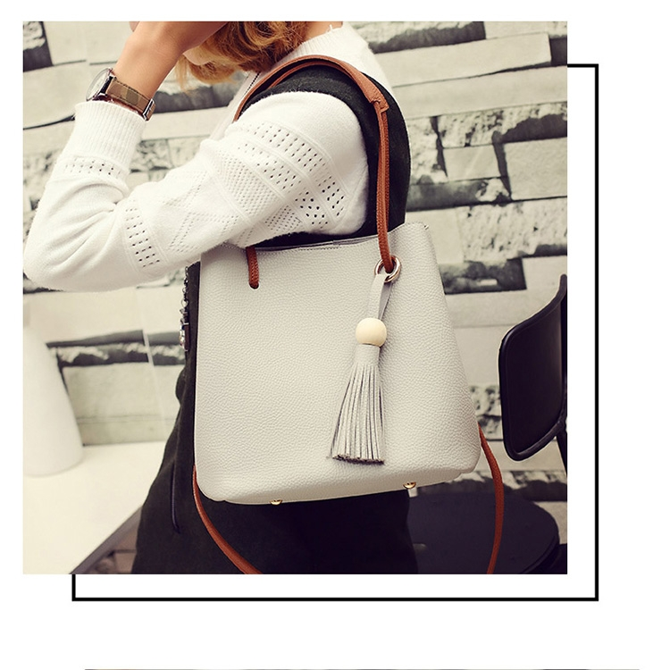 New Model Fashion Lychee Grain Tote Bag Handbag Bucket Bag Shoulder Bag Two-Piece Set (Blue)