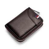 KB155 Antimagnetic RFID Zipper Leather Large-capacity Cards Holder Wallet (Coffee)