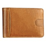 KB186 Antimagnetic RFID Mini Crazy Horse Texture Leather Billfold Card Wallet for Men and Women (Yellowish-brown)