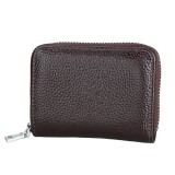 KB205 Antimagnetic RFID Litchi Texture Leather Zipper Large-capacity Card Holder Wallet (Coffee)