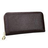 906 Antimagnetic RFID Litchi Texture Women Large Capacity Hand Wallet Purse Phone Bag with Card Slots (Coffee)