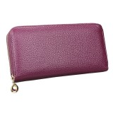 906 Antimagnetic RFID Litchi Texture Women Large Capacity Hand Wallet Purse Phone Bag with Card Slots (Purple)