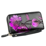 907 Antimagnetic RFID Women Flower Pattern Large Capacity Hand Wallet Purse Phone Bag with Card Slots (Purple)