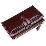 8239 Antimagnetic RFID Multi-function Leather Lady Wallet Large-capacity Purse with Detachable Card Holder (Coffee)