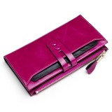8239 Antimagnetic RFID Multi-function Leather Lady Wallet Large-capacity Purse with Detachable Card Holder (Rose Purple)