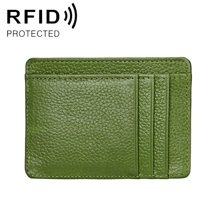 KB37 Antimagnetic RFID Litchi Texture Leather Card Holder Wallet Billfold for Men and Women (Green)