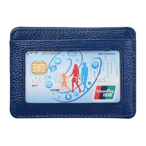 KB37 Antimagnetic RFID Litchi Texture Leather Card Holder Wallet Billfold for Men and Women (Blue)