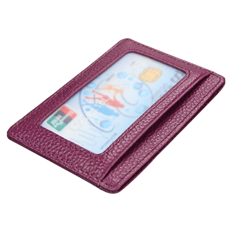 KB37 Antimagnetic RFID Litchi Texture Leather Card Holder Wallet Billfold for Men and Women (Purple)