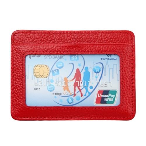 KB37 Antimagnetic RFID Litchi Texture Leather Card Holder Wallet Billfold for Men and Women (Red)