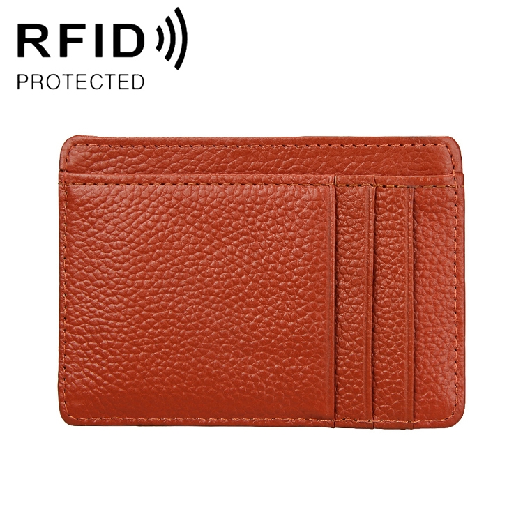 KB37 Antimagnetic RFID Litchi Texture Leather Card Holder Wallet Billfold for Men and Women (Brown)