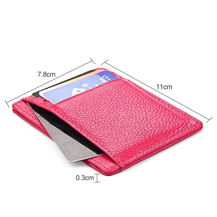 KB37 Antimagnetic RFID Litchi Texture Leather Card Holder Wallet Billfold for Men and Women (Purplish Red)