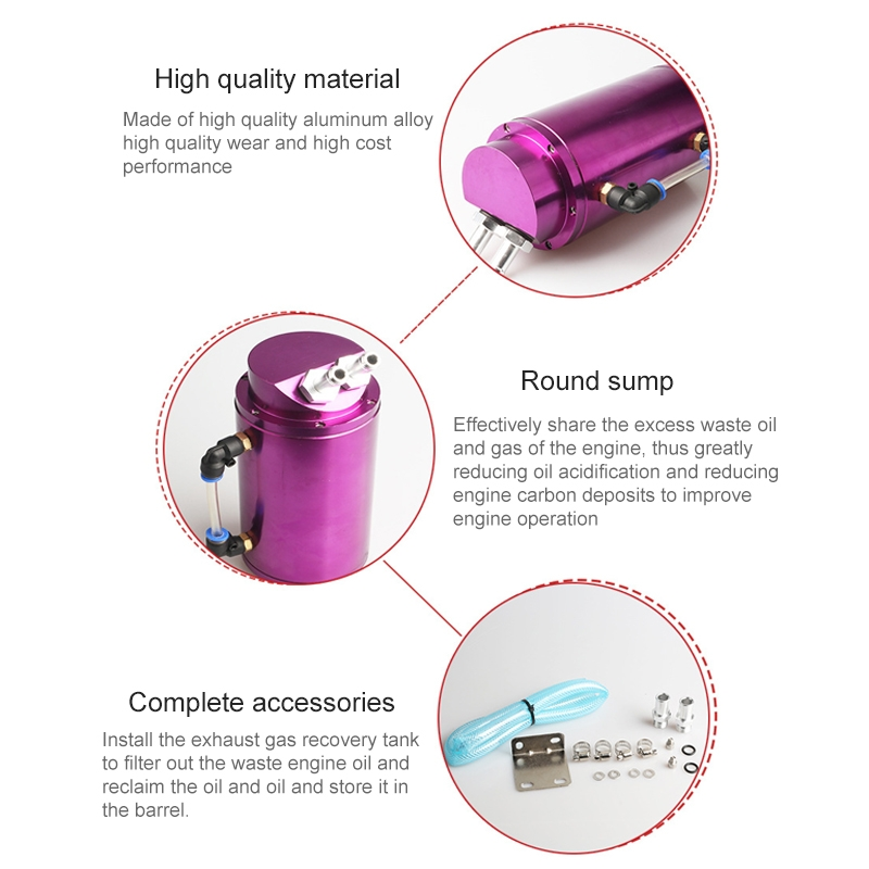 Automotive Round Oil Filter Pot Power Modified Engine Oil Breathable Pot (Purple)