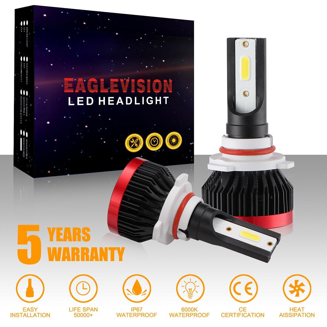 2 PCS EV7 9005 / HB3 DC 9-32V 36W 3000LM 6000K IP67 LED Car Headlight Lamps, with Mini LED Driver and Cable (White Light)