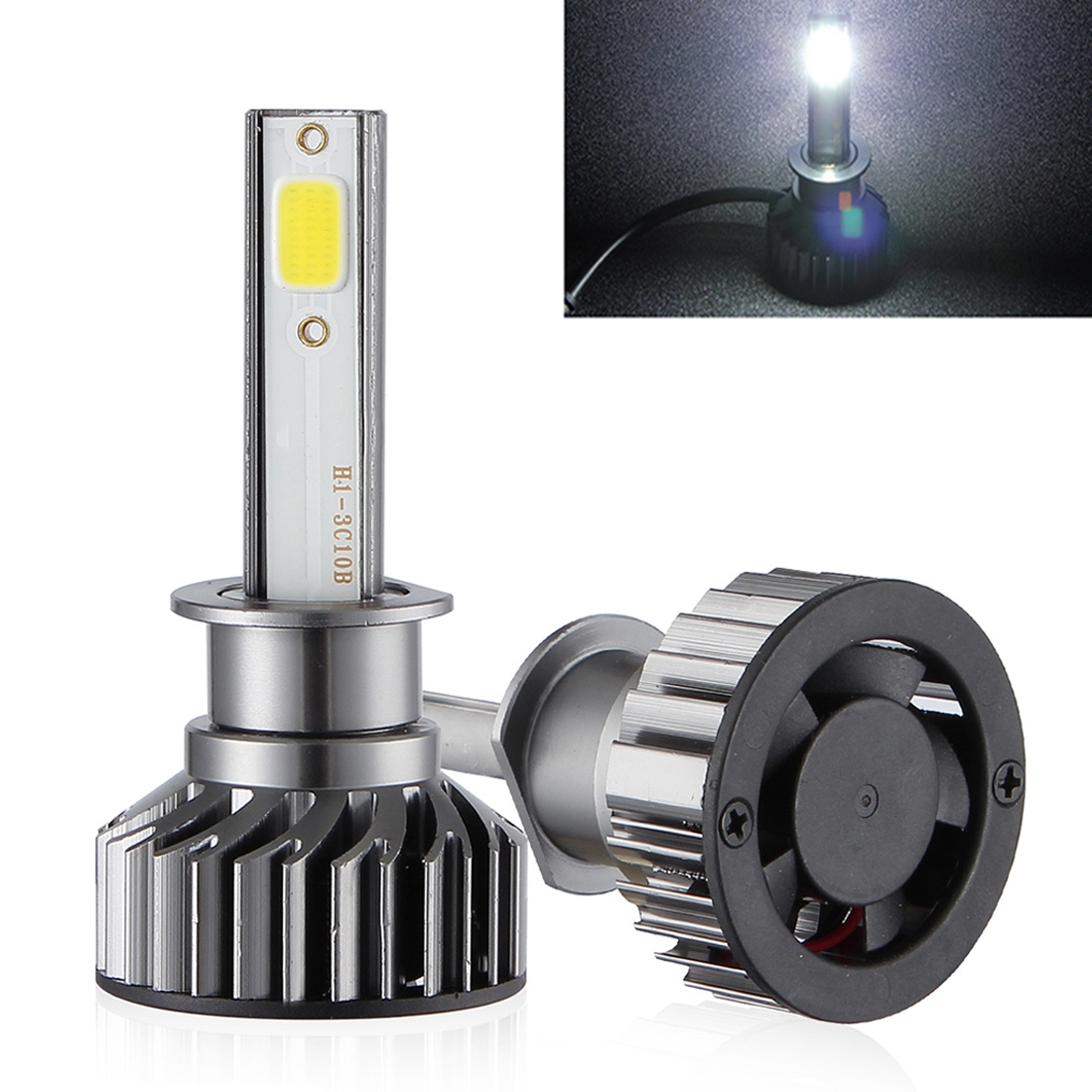 2 PCS EV8 H1 DC 9-32V 36W 3000LM 6000K IP67 DOB LED Car Headlight Lamps, with Mini LED Driver and Cable (White Light)