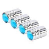 4 PCS Gas Cap Mouthpiece Cover Gas Cap Tire Cap Car Motor Bicycle Tire Valve Caps (Blue)