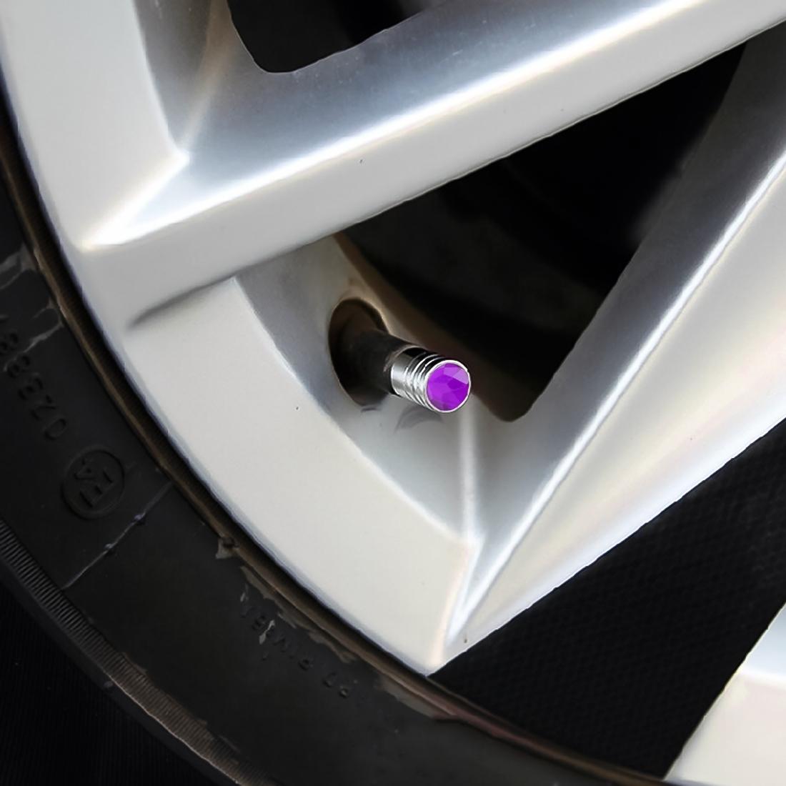 4 PCS Gas Cap Mouthpiece Cover Gas Cap Tire Cap Car Motor Bicycle Tire Valve Caps (Purple)