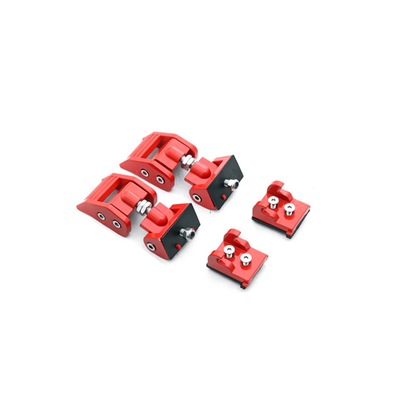 2 PCS Car Anti-Theft Hood Latch Locking Catch Buckle Engine Cover for Jeep Wrangler JK 2007-2017 (Red)