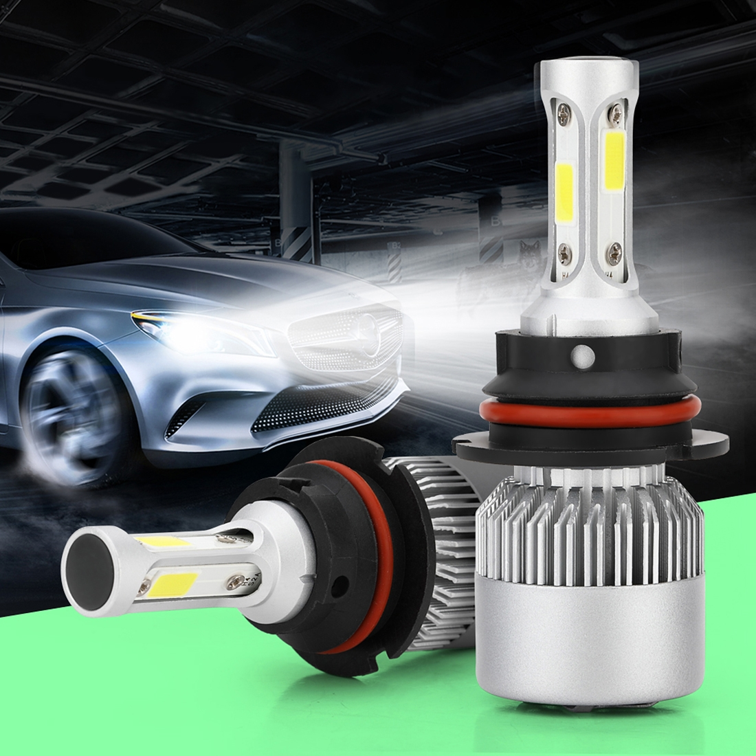 2 PCS S2 9007 / HB5 18W 6000K 1800LM IP65 2 COB LED Car Headlight Lamps, DC 9-30V (Cool White)