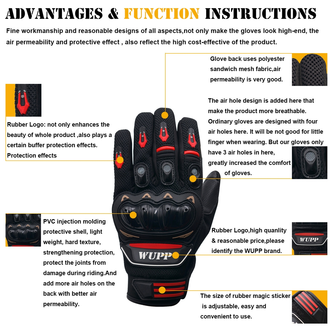 Motorcycle Gloves Touch Screen Waterproof Breathable Wearable Anti-skid Resistance Summer Winter Full-Finger Protective Gloves, Size: XXL