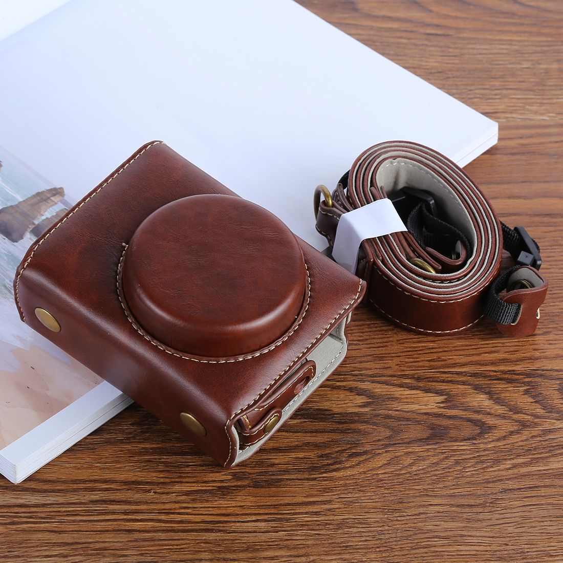 G7XII PU Leather Camera Protective bag for Canon Powershot G7X Mark 2 G7XII Digital camera, with Strap (Coffee)