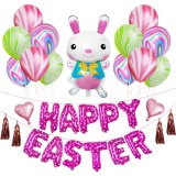 Happy Easter Rabbit Pattern Easter Holiday Alphabetic Ornament Balloons (Pink)