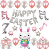 Happy Easter Rabbit Pattern Easter Holiday Alphabetic Ornament Balloons (Silver)