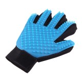 Right Hand Five Finger Deshedding Brush Glove Pet Gentle Efficient Massage Grooming (Sky Blue)