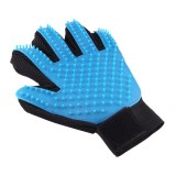 Left Hand Five Finger Deshedding Brush Glove Pet Gentle Efficient Massage Grooming (Sky Blue)
