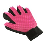 Left Hand Five Finger Deshedding Brush Glove Pet Gentle Efficient Massage Grooming (Pink)