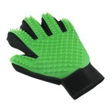 Left Hand Five Finger Deshedding Brush Glove Pet Gentle Efficient Massage Grooming (Green)