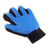 Left Hand Five Finger Deshedding Brush Glove Pet Gentle Efficient Massage Grooming (Blue)