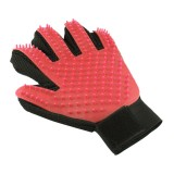 Left Hand Five Finger Deshedding Brush Glove Pet Gentle Efficient Massage Grooming (Red)